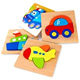SKYFIELD Wooden Vehicle Puzzles for Toddlers 1 2 3 Years Old, Boys &Girls Educational Toys Gift with 4 Vehicle Patterns, Bright Vibrant Color Shapes, Customize Gift Box Ready(Vehicle)