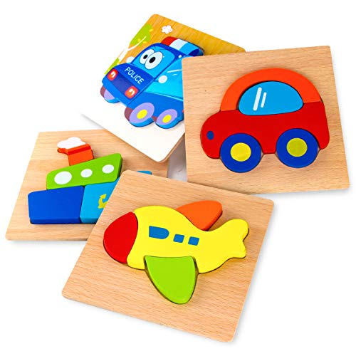 SKYFIELD Wooden Vehicle Puzzles for Toddlers 1 2 3 Years Old, Boys...