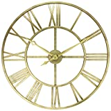 Antique Tower 30 inch Large Roman Numeral Wall Clock Indoor/Outdoor Patio Waterproof Oversized Decorative Contemporary Clock, 30-inch Diameter Roman Numerals (Matte Gold)
