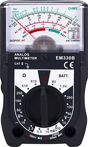 Power Gear Multimeter, 14 Range, Battery Tester, 250V, Analog, Measures Voltage (AC, DC) and Resistance, 6-Function Non-Recording, Black