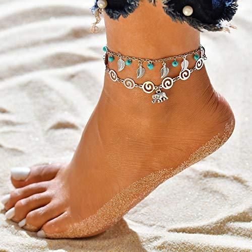 Jovono azul Boho abalorios tobilleras de múltiples capas hoja pulseras de tobillera Joyería de pie de playa para mujeres y niñas (elefante)