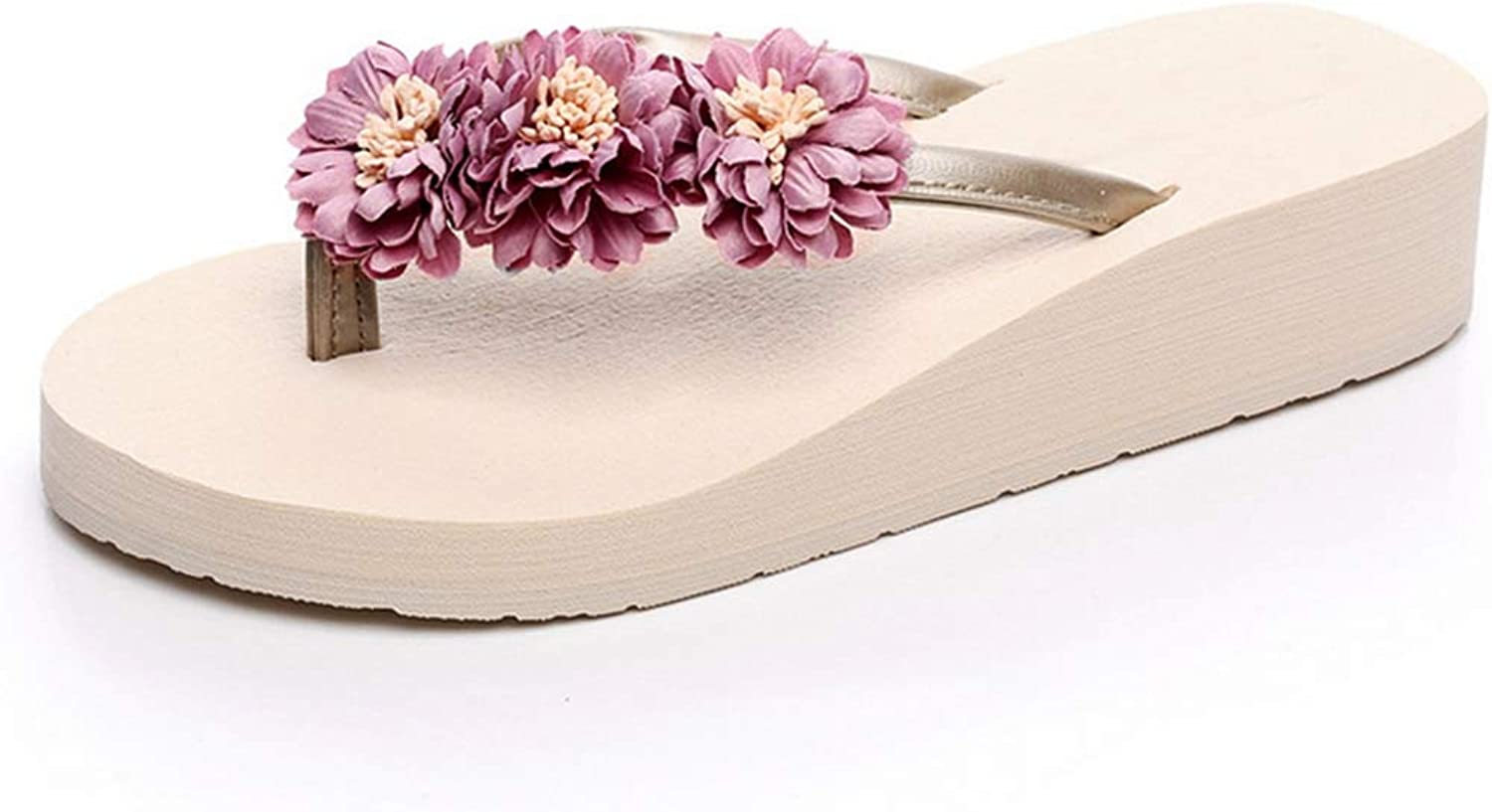 Women's Beach Wedge Flip Flops Platform Small Daisy Flower Decorations Waterproof Soft Casual Fashion Toe Post Clip Toes Sandals Slippers