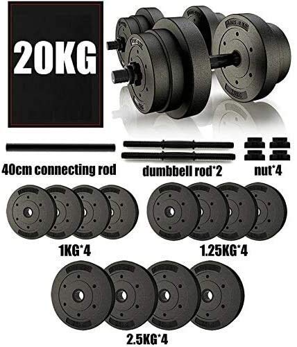 LDM 20Kg Dumbbell Peso Ajustable de la Mano Barbell Dumbbells Weight Set para Body Workout Home Gym 44LB Dumbbell