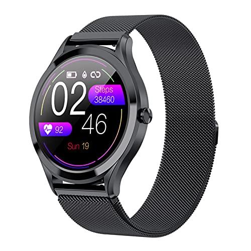 BNMY Smartwatch Pantalla De 1,3 Pulgadas Reloj Inteligente Impermeable IP67 con Pulsómetros para Mujer Hombre, Pulsera De Actividad Inteligente con Monitor De Sueño Contador De Caloría Cronógrafo,B
