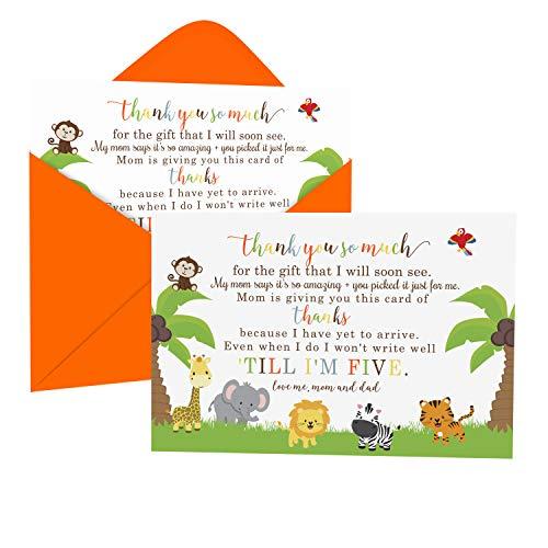 Jungle Baby Shower - Tarjetas de agradecimiento y sobres (15 unidades), diseño de animales