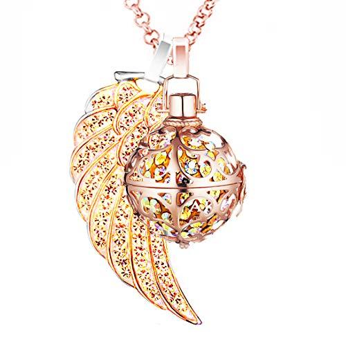 AKKi jewelry Damen Halskette Edelstahl 70 cm mit Engelrufer Anhänger Engel flügel Ornament und Engels Strass Kugel no Klangkugel Ø 14 mm in Schmuckbeutel zur Farbauswahl Rot