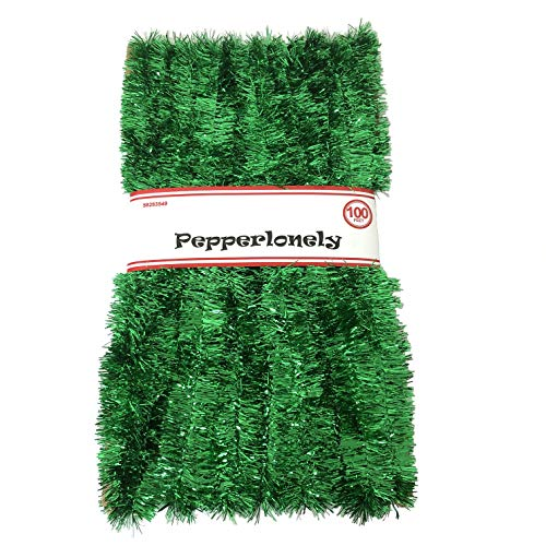 PEPPERLONELY 100 FT Commercial Length Christmas Garland Classic Christmas Decorations, Green