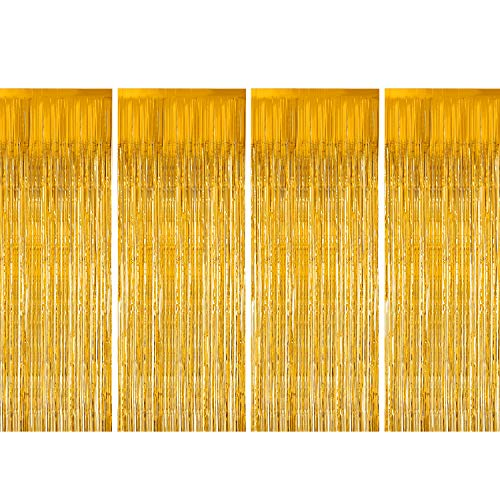 Foil Fringe Curtains, Zealor 4 Pack Metallic Tinsel Curtains 3.28ft 8.2ft Backdrop for Parties and Celebrations(Gold)