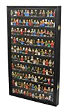 Toy Minifigures Miniatures Figurines Display Case Wall Cabinet Stand, with Door (Black)