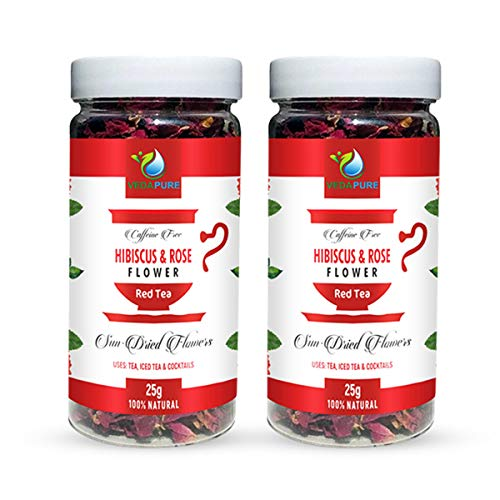 VedaPure Natural Red Tea- Pure Hibiscus Flower with Rose Petals Sun Dried, 25Gm, Herbal Tea, Caffeine Free- Pack of 2