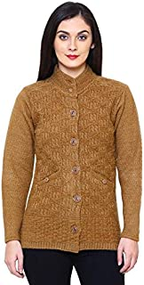 Matelco Women's Wool High Neck Cardigan (AD04GP02BR_Brown_Medium)