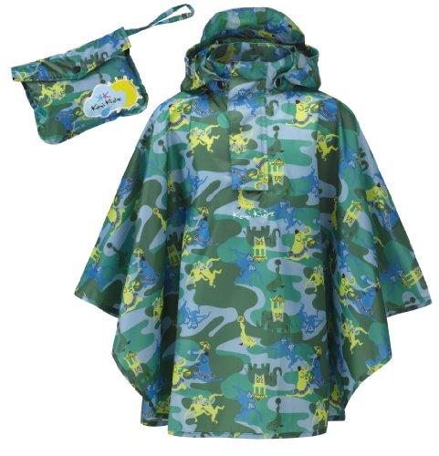 Kozi Kidz, Poncho da Pioggia Bambino, Blu (Blue/Green Pattern), S