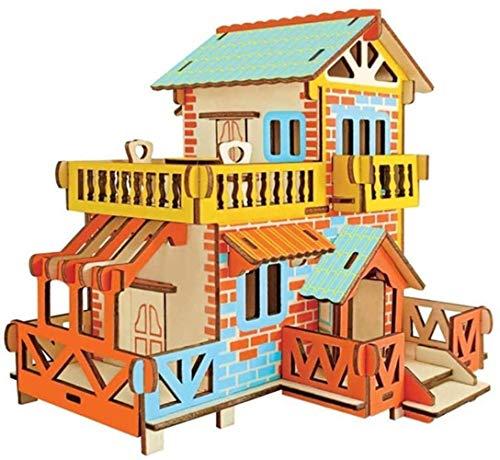 Taoke S Puzzle Spielzeug Haus Modell Kleines Haus aus Holz DIY Hut handgemachte Geschenke Assembled Antike Art-Gebäude Cottage Spielzeug 8bayfa