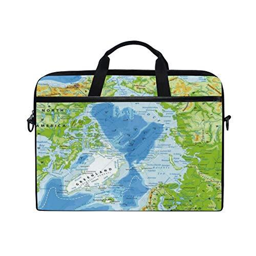 VICAFUCI Nuevo Bolso para portátil de 15-15.4 Pulgadas,Islandia Mapa Físico del Océano Ártico Altamente detallado Alaska América Asia Atlántico Norte Bering