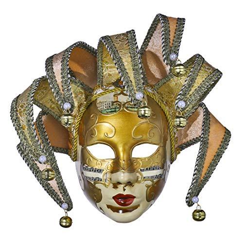 YU FENG Resin Music Jester Maschera Veneziana Mascherata Mardi Gras Collezione di Arte Decorativa da Parete (Giallo)