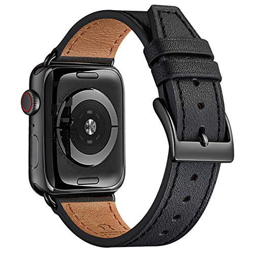 BesBand Watch Band Compatible with Apple Watch Band 38mm 40mm 42mm 44mm for Men and Women,Genuine Leather Replacement Strap for iWatch Series 5/4/3/2/1 (Black/Black, 42mm 44mm)