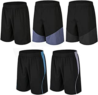 BUYJYA Men's Active Athletic Shorts 5 Pack for Workouts Basketball Football Badminton Exercise Training Running
