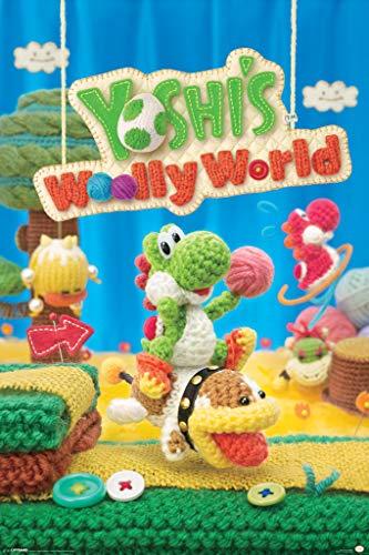 Yoshis Woolly World Nintendo Wii U Side Scrolling Platformer Video Game Cover Box Art Cool Wall Decor Art Print Poster 24x36