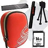 1A Photo PORST - Juego de funda para cámara Canon Powershot SX620 HS (incluye protector de pantalla, tarjeta SD de 16 GB, gamuza de microfibra, mini trípode y Pluma para limpieza), color rojo
