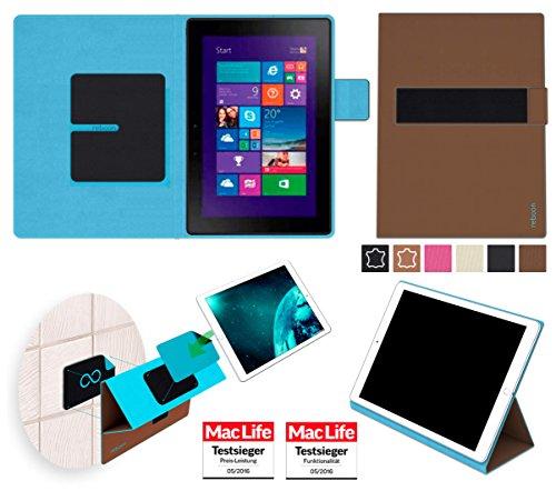 reboon Hülle für Dell Venue 10 Pro Tasche Cover Case Bumper | in Braun | Testsieger
