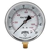 Winters PEM224LF PEM-LF Series Pressure Gauge, 4' Dial size, 1/4' NPT, 0/160 psi/kpa, ±3-2-3% accuracy