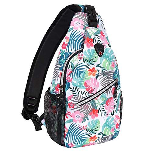 MOSISO Sling Backpack,Travel Hiking Daypack Pattern Rope Crossbody Shoulder Bag, Monstera Leaves & Pink Azalea