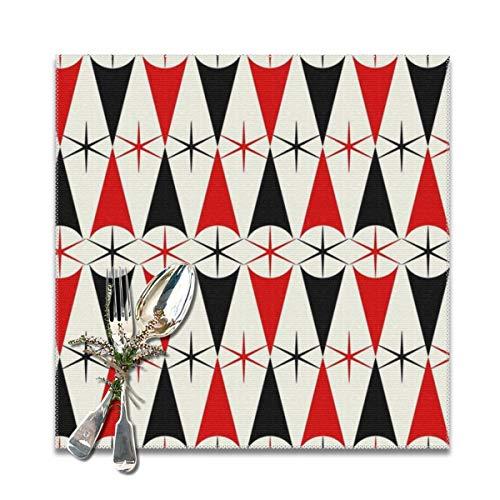nonebrand Starburst Harlekin rot und schwarz rutschfeste Platzsets fleckenabweisend leicht zu reinigen Tischsets für Küche 30,5 x 30,5 cm Set mit 6 Stück