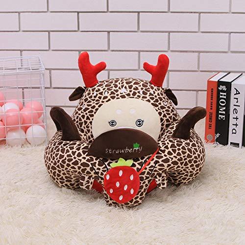 Ragdoll Baby Leren Stoel Creatieve Cartoon Baby Kinderen Leren Zitten Op De Bank Knuffel Zithouding Kleine Bank Pop-open Ogen Bruin Wit Camouflage Deer_55cm * 40cm