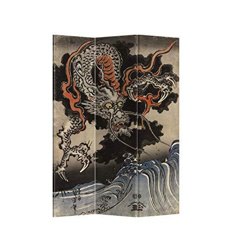 Fine Asianliving Paravent Raumteiler Trennwand Spanische Wand Raumtrenner Sichtschutz Japanisch Orientalisch Chinesisch L120xH180cm Bedruckte Canvas Leinwand Doppelseitig Asiatisch -203-231