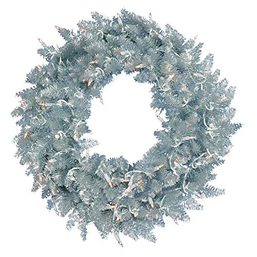 Vickerman K166948LED Wreath with 480 Pvc Tips & 150 Dura Lit Led Italian Style Lights on Gray Wire, 48' , Warm White/Silver