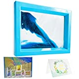 Dynamic Sand Art Picture Ocean Heart, Moving Sand Picture Art for Autistic, Desktop Art Decor Toys, Sand Sculptures in Motion Office Relax Toys to Keep You Calm! (7.3 x 5.7 inch - Blue)