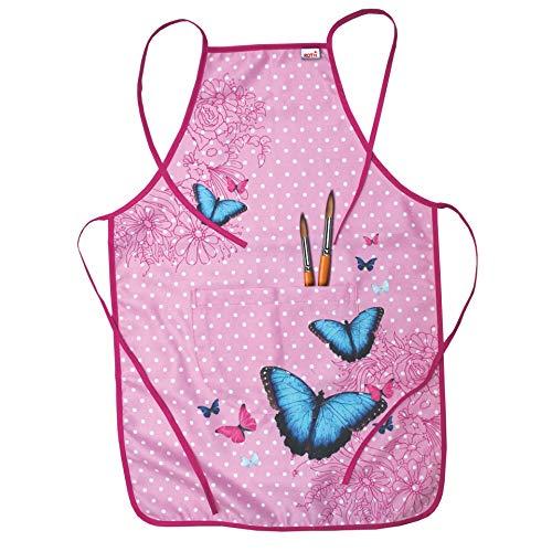 ROTH Schürze für Kinder - Butterfly - mit Tasche - Malschürze größenverstellbar und pflegeleicht - von 4-10 Jahre - für alle die Schmetterlinge / rosa lieben