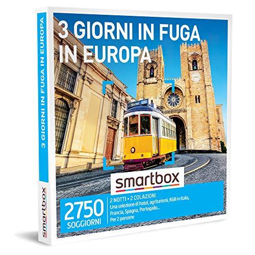 smartbox - Cofanetto Regalo Coppia - 3 Giorni in Fuga in Europa - Idee Regalo Originale - 2 Notti con Prima Colazione per 2 Persone