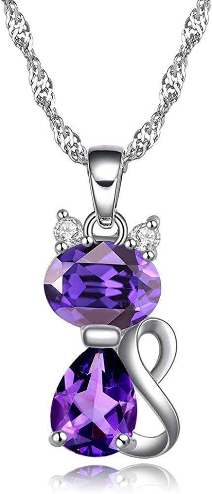 Ginger Lyne Collection Kitten Cat Clear or Purple CZ Pendant Necklace Water Waves Chain