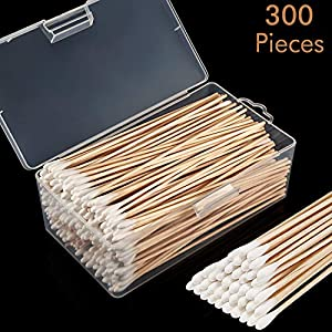 Norme 6 Inch Caliber Cotton Cleaning Swabs Single Round Tip with Wooden Handle Cleaning Swabs for Jewelry Ceramics Electronics in Storage Case (Round Tip, 500 Pieces)