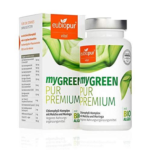 eubiopur myGreen, 60 Kapseln, Chlorophyll Komplex mit Matcha, Moringa und Superfood-Extrakten, veganes Nahrungsergänzungsmittel hergestellt in Deutschland