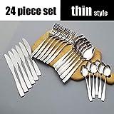 24 Unids/set Vajilla Set top Juego de cubiertos y tenedor de acero inoxidable con caja de regalo-Juego de 24 piezas