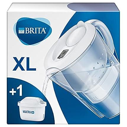 BRITA Marella blanca XL – Jarra de Agua Filtrada con 1 cartucho MAXTRA+, Filtro de agua BRITA que reduce la cal y el cloro, Agua filtrada para un sabor óptimo, 3.5L