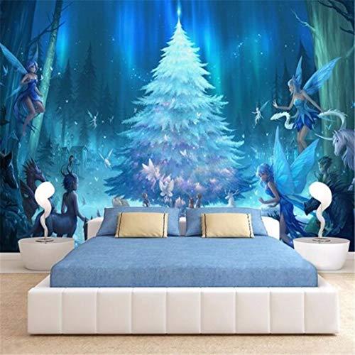 3D vliesfotobehang wandbehang fotobehang 3D gepersonaliseerd klein ivoorbos sprookjesbos kinderslaapkamer slaapkamer vlies wanddecoratie 250cm*175cm
