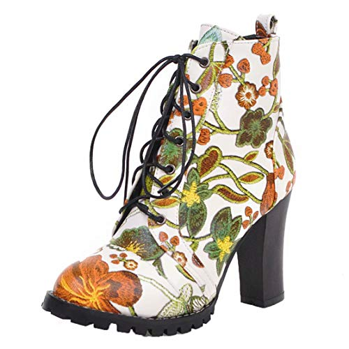 AIYOUMEI Winter Damen Schnürstiefeletten High Heels Ankle Boots Blockabsatz Stiefeletten...