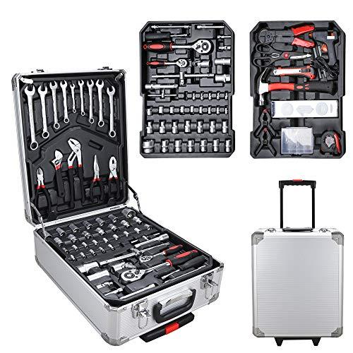 TolleTour Werkzeugkoffer Werkzeugtrolley 156-teilig Werkzeug Set Teleskophandgriff Profi fahrbar Werkzeugkiste