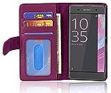 Cadorabo Hülle für Sony Xperia XA in Bordeaux LILA – Handyhülle mit Magnetverschluss & 3 Kartenfächern – Hülle Cover Schutzhülle Etui Tasche Book Klapp Style