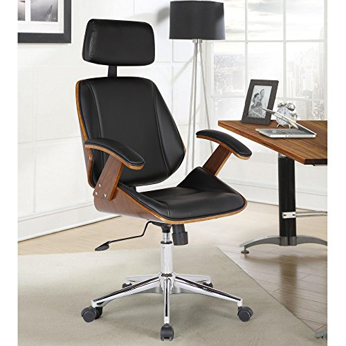 Armen Living Century Office Chair in Black Faux Leather and Walnut Wood, Chrome Finish