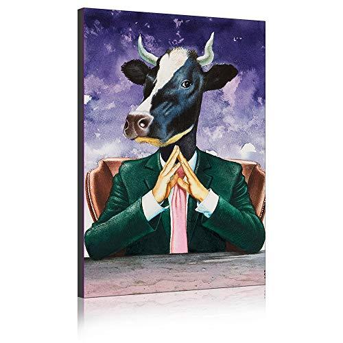 Koe In Een Pak Canvas Wall Art Prints Olieverfschilderij Afbeelding op Canvas Moderne Fee Tale Artwork voor Home Decor Frameless 40 x 60 cm