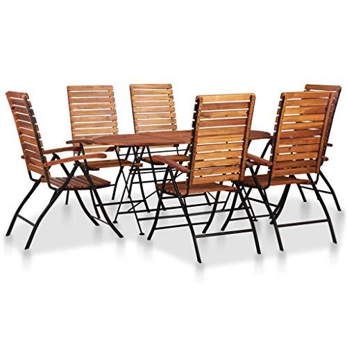 Festnight Garten Essgruppe 7-teilig | Holz Sitzgruppe 6+1 | Gartengarnitur Sitzgarnitur | Gartenset Essgruppe | Terrassenmöbel Gartenmöbel | Gartenmöbelset | Massivholz Akazie mit Stahlrahmen