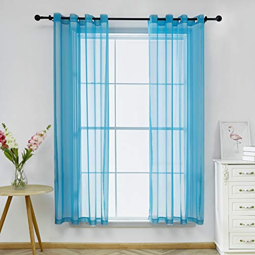 Bermino Sheer Curtains 54 x 72 inch Voile Grommet Semi Sheer Curtains for Bedroom Living Room Set of 2 Curtain Panels Blue