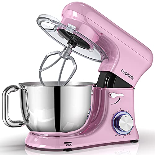 COOKLEE Stand Mixer, All-Metal Series 6.5 Qt. Kitchen Electric Mixer with Dishwasher-Safe Dough Hooks, Flat Beaters, Whisk & Pouring Shield Attachments for Most Home Cooks, SM-1515, Sakura Pink