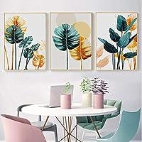 北欧のカラフルな植物の葉のポスターとリビングルームの家のHD装飾(60x80cm)3pcs非フレームの風景壁アート写真を印刷
