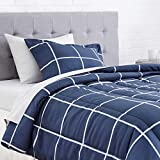 Amazon Basics 5-Piece Light-Weight Microfiber Bed-In-A-Bag Comforter Bedding Set - Twin, Navy Simple Plaid