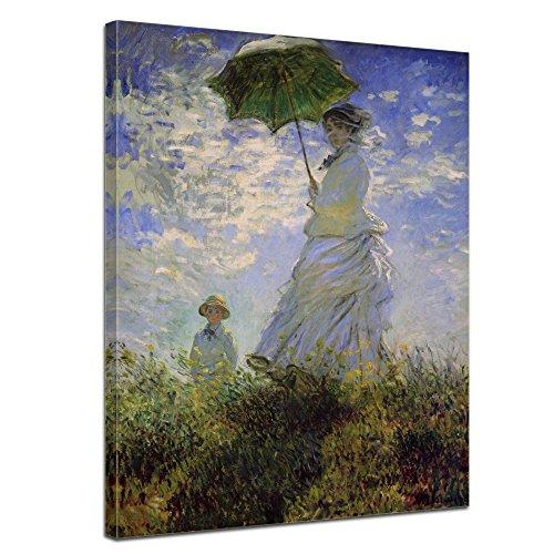 Wandbild Claude Monet Frau mit Sonnenschirm - 50x60cm hochkant - Alte Meister Berühmte Gemälde Leinwandbild Kunstdruck Bild auf Leinwand